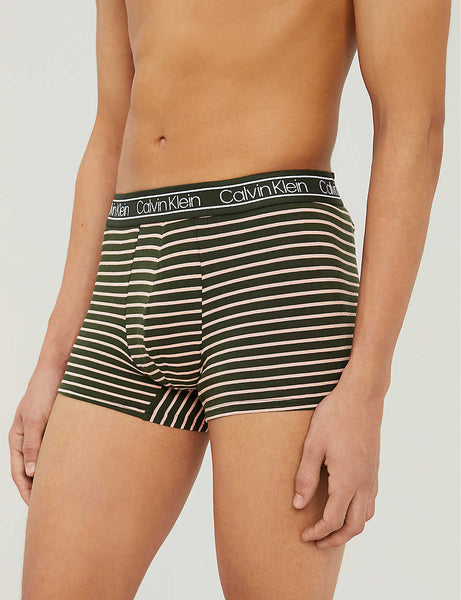 Logo-print striped stretch-cotton boxer shorts