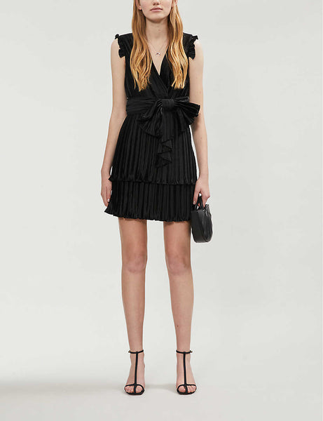 Sleeveless pleated satin mini dress