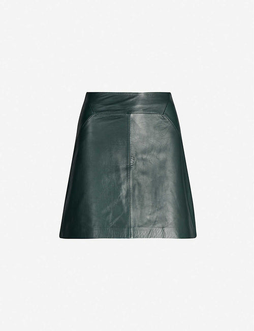 A-line leather mini skirt
