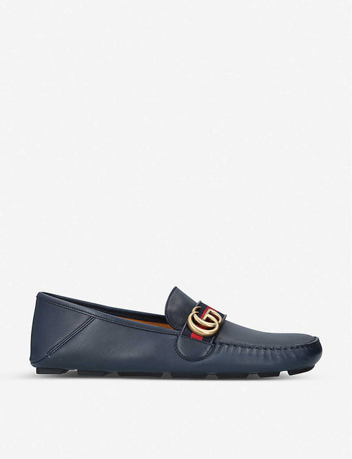 Driver logo-embellished leather loafers
