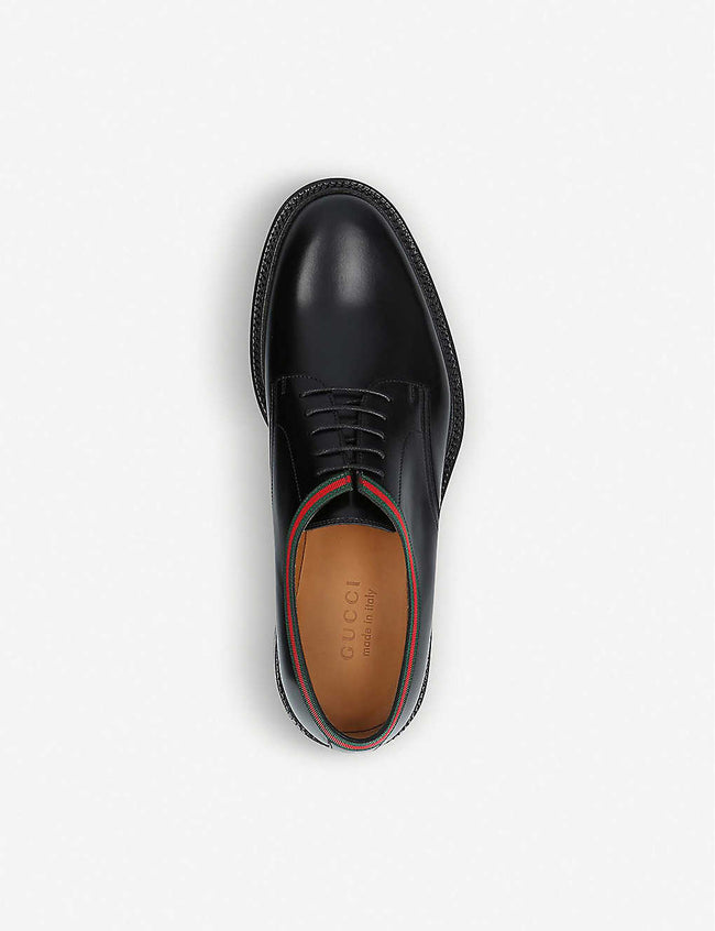Beyond Web-striped leather Derby shoes
