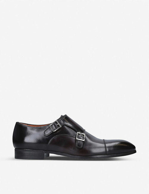Simon double-buckle leather Derby shoes
