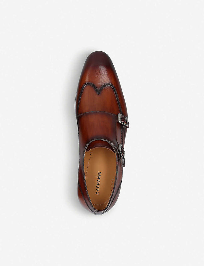 Burnished leather monk strap shoes