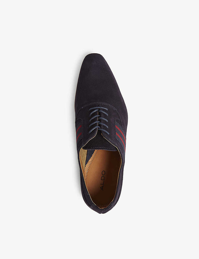 Breaclya stripe-trimmed suede Oxford shoes