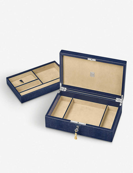 Savoy leather jewellery box