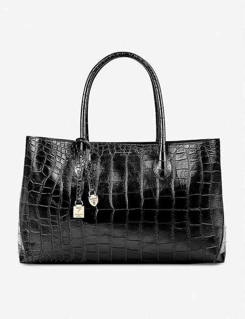 London large croc-embossed leather tote bag