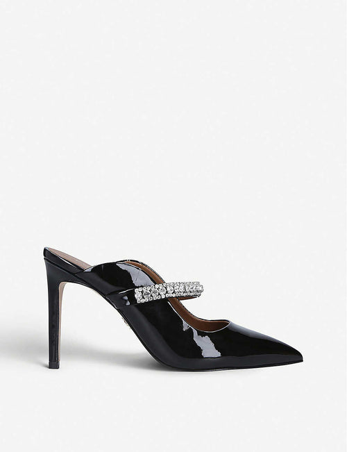 Duke crystal-embellished patent-leather heeled mules