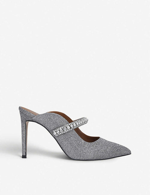 Duke crystal-embellished leather heeled mules