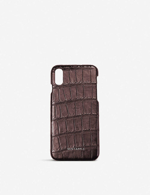 Alligator-effect leather iPhone X case