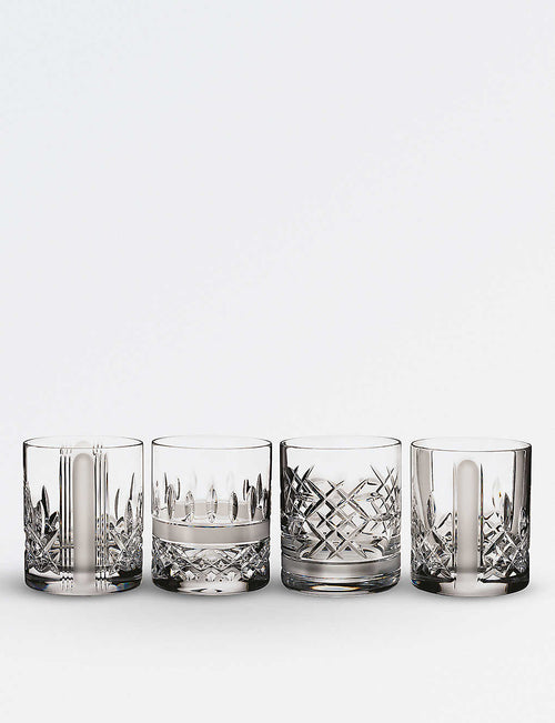 Set of four Lismore Short Stories Revolution crystal tumblers