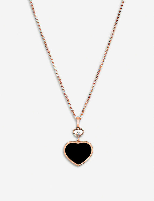 Happy Hearts 18ct rose-gold, onyx and diamond pendant