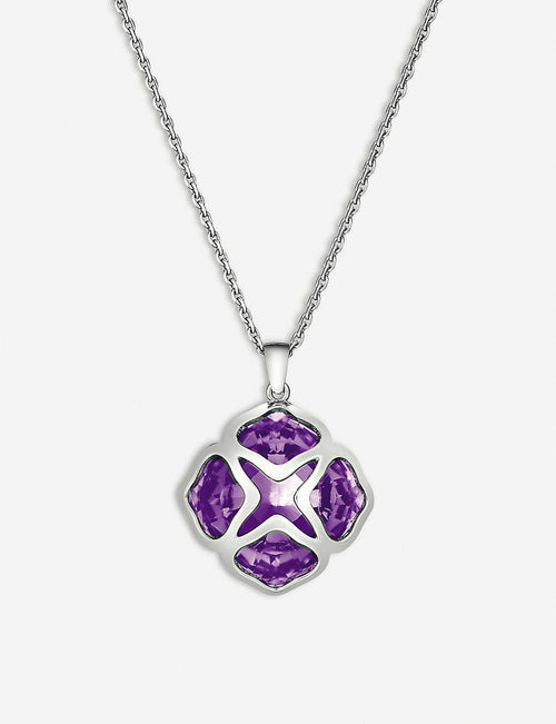 IMPERIALE white-gold and amethyst long-length pendant necklace