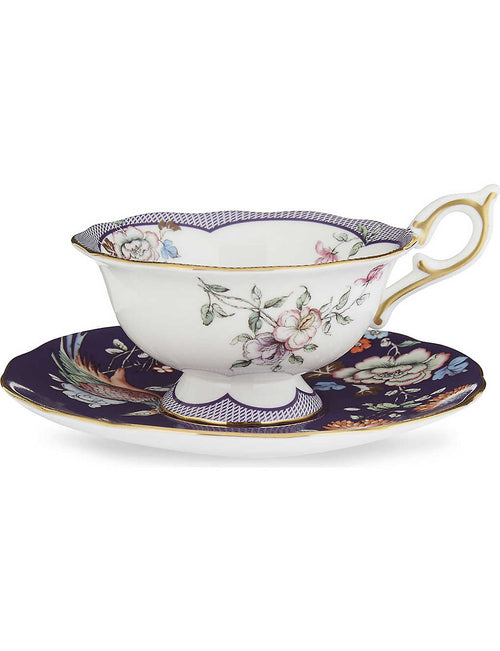 Wonderlust Midnight Crane teacup and saucer