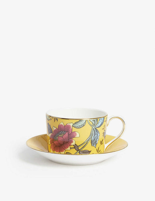 Wonderlust Yellow Tonquin teacup and saucer