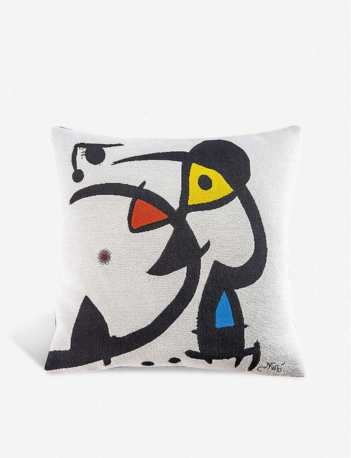 Miro White cotton-blend cushion cover