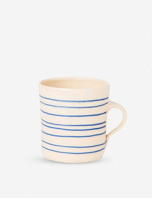 Wonki Ware striped glazed clay breakfast mug