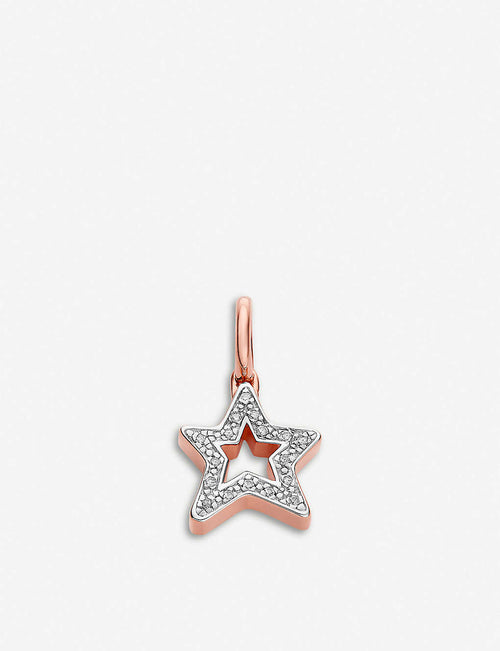 Alphabet Star 18ct rose-gold vermeil and pave diamonds pendant