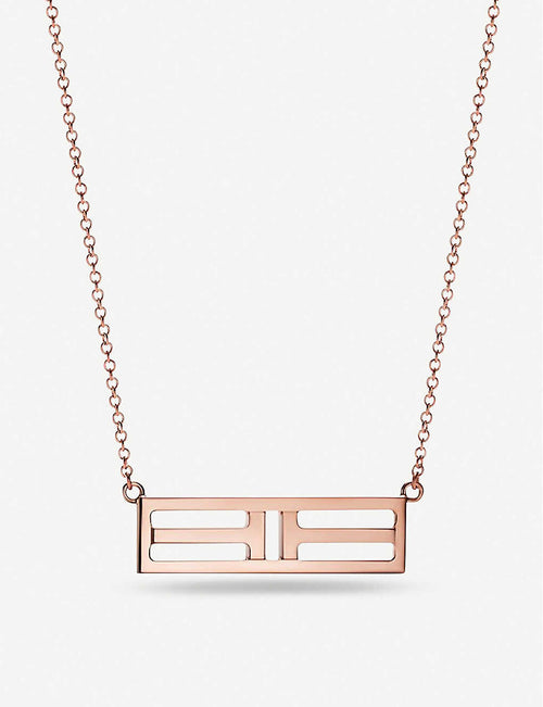 Tiffany T Two Open Horizontal Bar rose-gold pendant