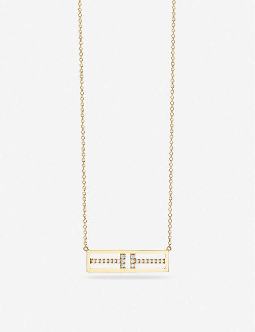 Two Open Horizontal Bar 18ct gold pendant