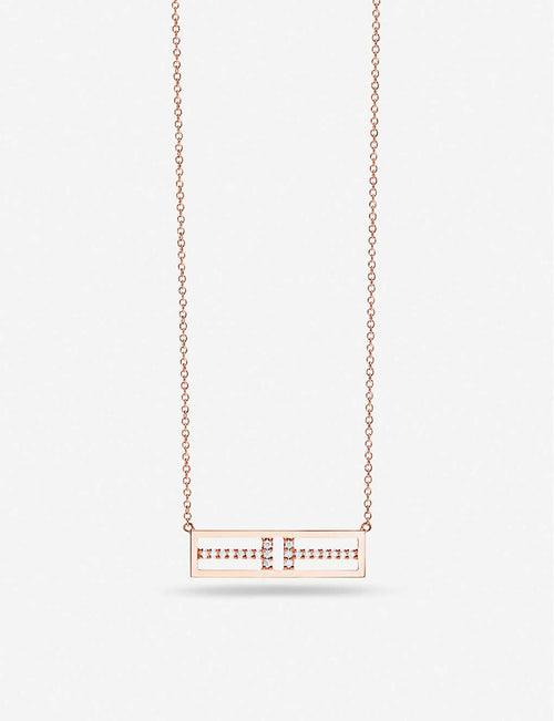 Two Open Horizontal Bar 18ct rose-gold pendant