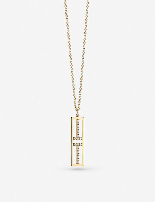 Two Open Vertical Bar 18ct gold pendant