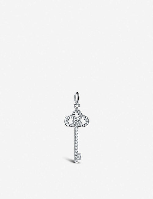 Keys Fleur De Lis 18ct white-gold and diamond key pendant