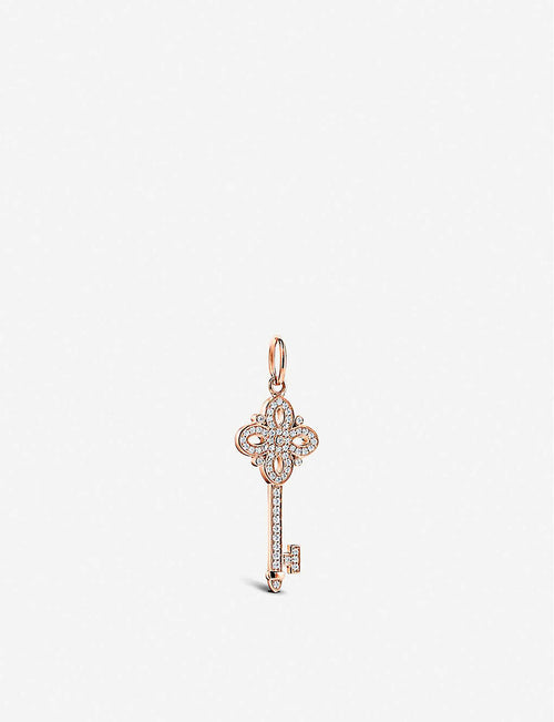 Tiffany Keys Victoria Key 18ct rose-gold and diamond pendant