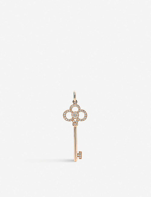 Tiffany Keys Crown Key 18ct rose-gold and diamond pendant