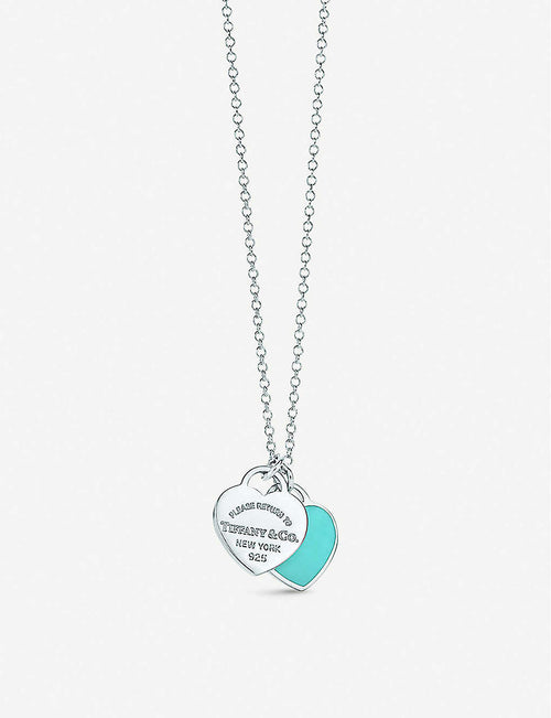 Return to Tiffany Mini Double Heart Tag Pendant sterling silver necklace with Blue enamel
