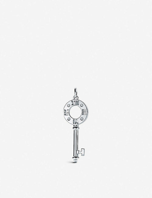 Atlas pierced key 18ct white-gold and diamond pendant