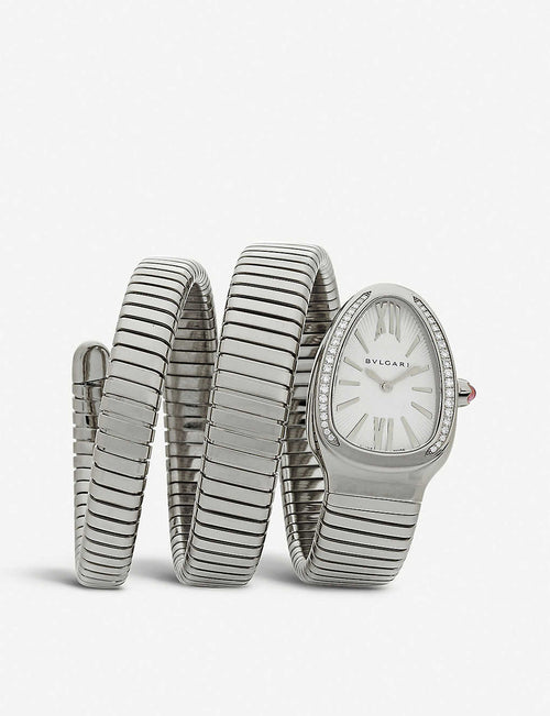Serpenti Tubogas stainless steel and diamond watch