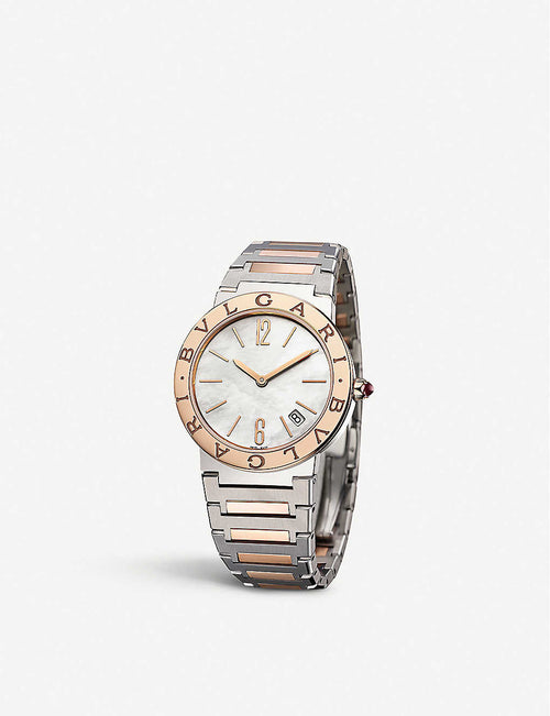 102925 BVLGARI BVLGARI 18ct rose-gold, stainless steel and mother-of-pearl watch