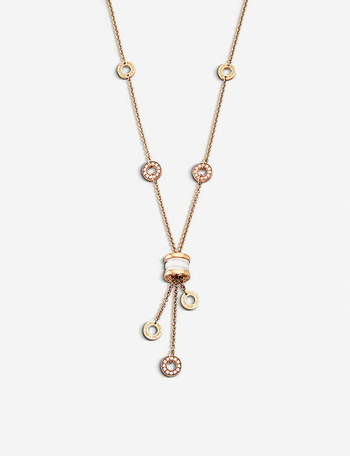 B.zero1 18kt pink-gold necklace with white ceramic and pavé diamonds