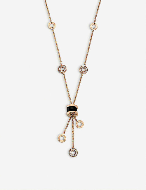 B.zero1 18kt rose-gold necklace with black ceramic and pavé diamonds