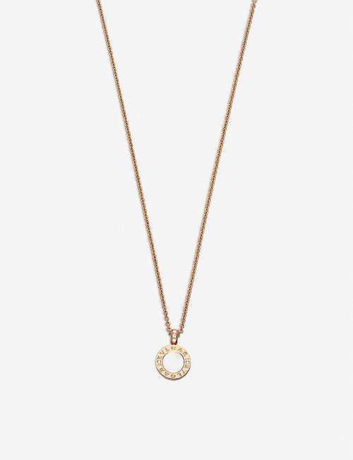 BVLGARI-BVLGARI 18kt pink-gold pendant necklace with mother-of-pearl, onyx and pavé diamonds