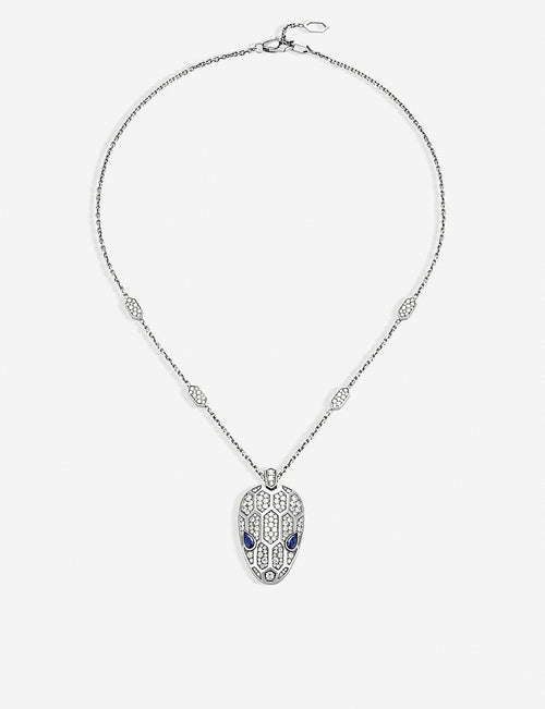 Serpenti 18kt white-gold, sapphire and diamond necklace