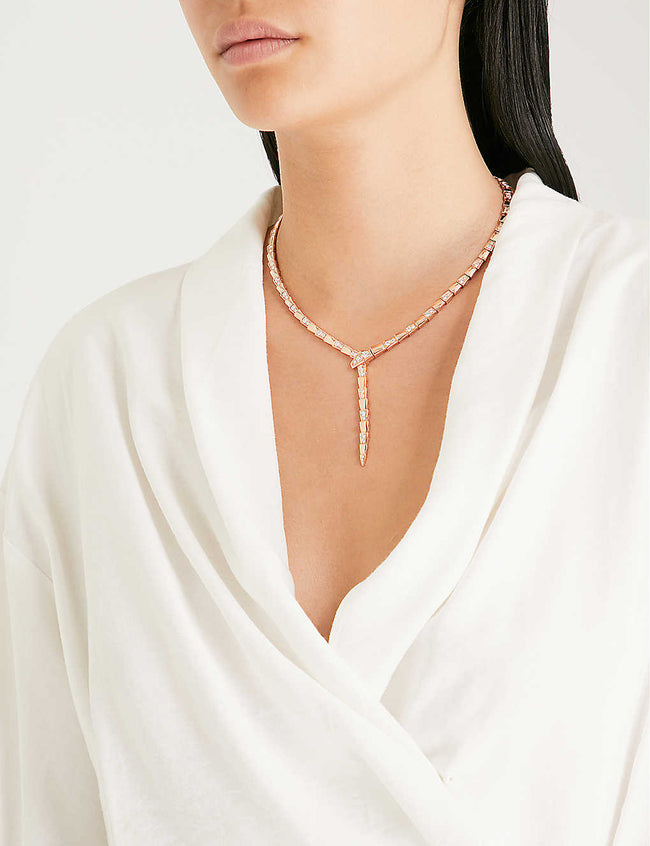Serpenti 18kt rose-gold and diamond necklace