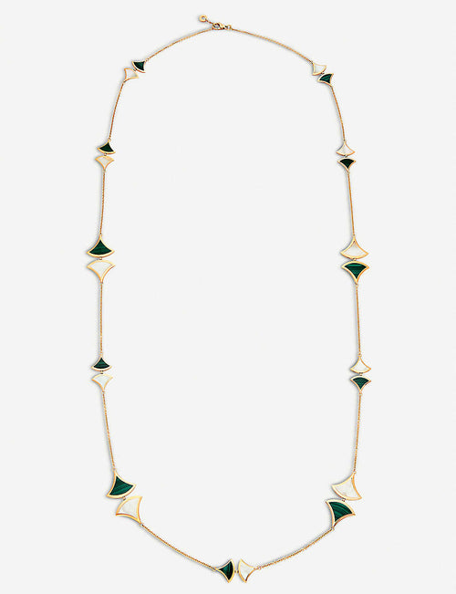 Divas Dream 18kt rose-gold, malachite and mother-of-pearl necklace