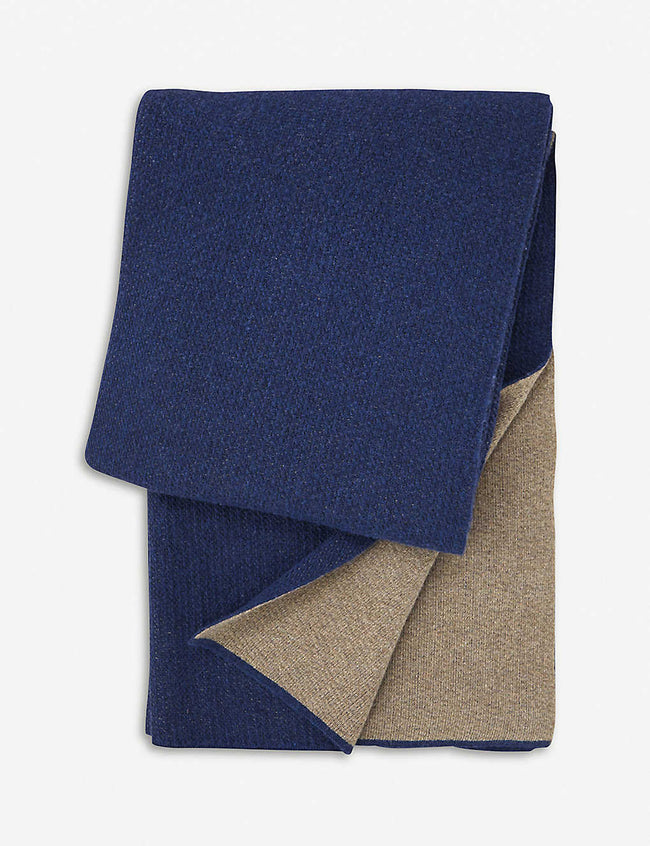 Zermat wool-cashmere blend reversible throw 130x170cm