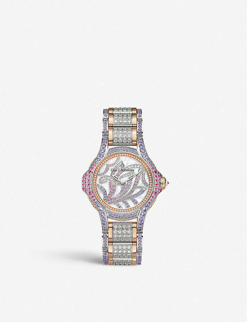 00.10590.09.90.31 Pathos Swan Limited Edition 18ct rose-gold, diamond and sapphire watch