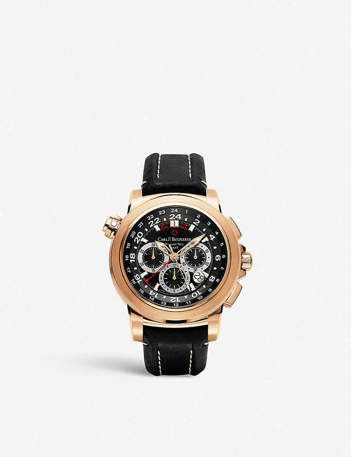 00.10620.03.33.01 Patravi TravelTech 18ct rose-gold and leather strap watch