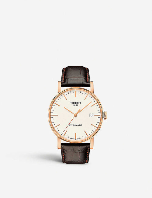 T109.407.36.031.00 rose gold-plated stainless steel and leather watch