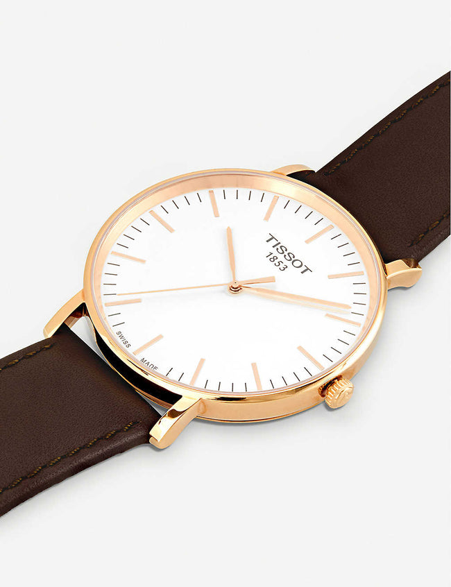 T109.610.36.031.00rose gold-plated stainless steel and leather watch