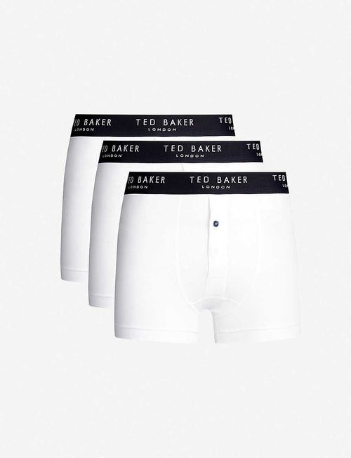 Pack of three button-front regular-fit stretch-cotton boxers