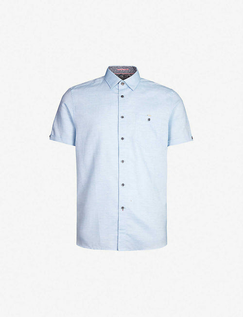 Clion regular-fit cotton and linen-blend shirt