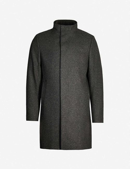 Margate high-neck single-breasted wool-blend coat
