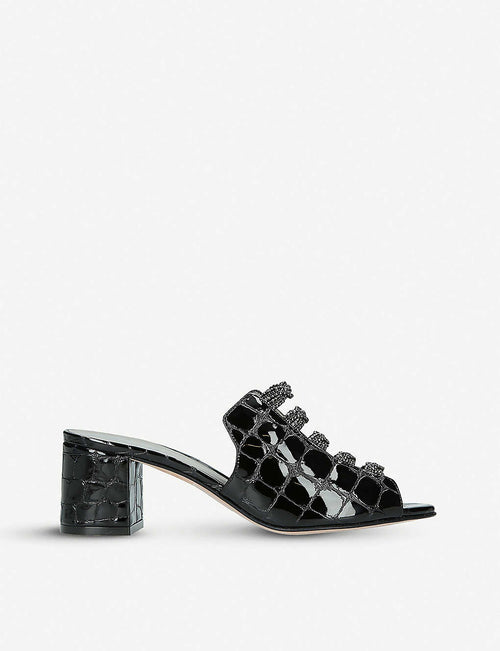 Cosmos embellished crocodile-embossed leather sandals