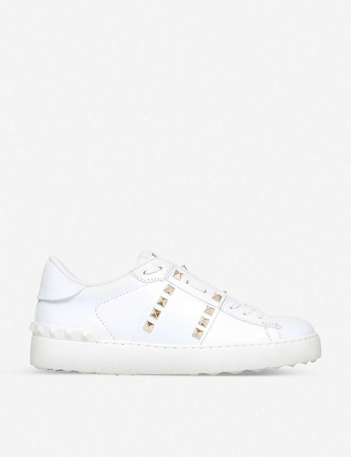 Rockstud leather low-top trainers