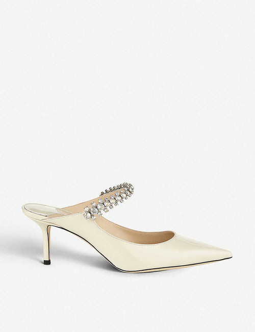 Bing 65 crystal-embellished patent-leather heeled mules
