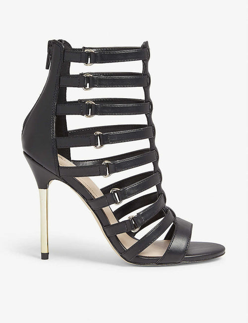 Unaclya caged faux-leather heel sandals